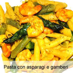Pasta con asparagi e gamberi for Primi piatti particolari